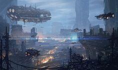 Future City, Cyber City, Anti-Utopia, Smog, Dark City, Cyberpunk City, Dystopia, Blue City