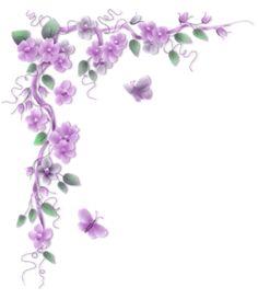Purple flowers vines PNG and Clipart Page Borders Design, Border Design, Borders For Paper, Borders And Frames, Purple Butterfly, Purple Flowers, Papillon Violet, Flowering Vines, Floral Border