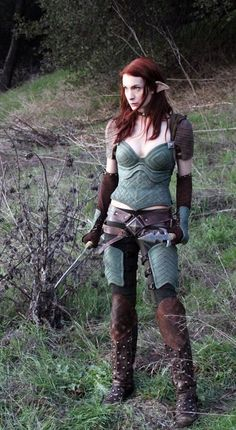 Felicia Day again outfitted in yet another corset as yet another character. Warrior elf?