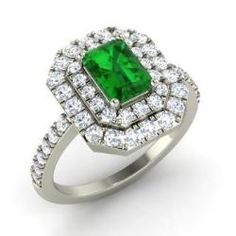 Emerald and Diamond  Ring in 14k White Gold (1.76 ct.tw.) - Constance