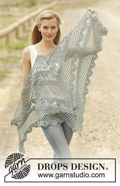 Shawl with lace pattern, crochet from the top down in DROPS Cotton Merino. Free pattern by DROPS Design.