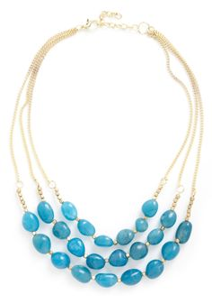 Better Lake Than Never Necklace - Blue, Gold, Solid, Beads, Tiered, Statement