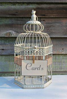 Shabby Ivory Wedding Bird Cage Card Holder/Wedding Card Box/Wedding Table Centerpiece/Wedding Ca Card Table Wedding, Wedding Cards, Wedding Wording, Wedding Invitations, Wedding Gifts, Trendy Wedding, Our Wedding, Ivory Wedding, Wedding Ideas
