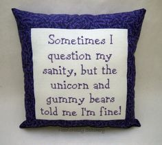 Funny Cross Stitch Pillow Purple Pillow Sanity by NeedleNosey, $25.00