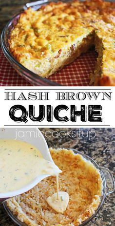 Hash Brown Quiche from Jamie Cooks It Up! Hash Brown Quiche from Jamie Cooks It Up! Best Quiche Recipes, Easter Quiche Recipes, Best Quiche Recipe Ever, Egg Dinner Recipes, Frozen Hashbrown Recipes, Strata Recipes, Easy Brunch Recipes, Frittata Recipes, Pizza Recipes