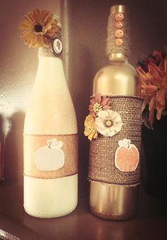 Fall Handmade, Personalized Decorative Wine Bottles Etsy $20.00