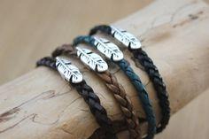Hommes 6 mm tissage en Cuir Véritable Clou Bracelet Charme Love Cuff bracelets bijoux