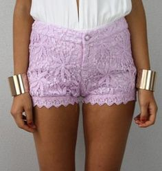 LILAC PASTEL PURPLE STAR FISH FLORAL CROCHETED LACE SCALLOPED HEM SHORTS S M L from ebay