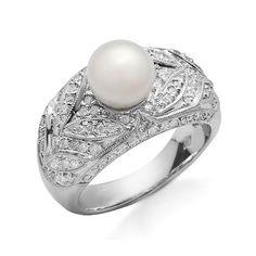 14K Fehér Arany Gyűrű Igazgyöngyel és Gyémánttal - Klugex Ékszer Center