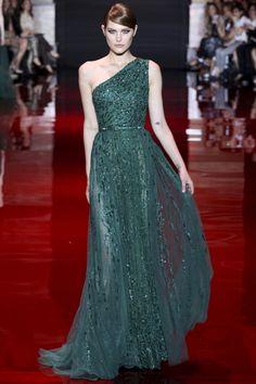 Elie Saab One Shoulder Emerald