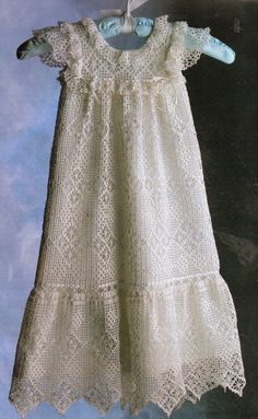 Antique Elegance christening gown pattern to filet crochet for 0-3mo, 3-6mo #AnniesAttic