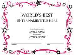 Free Funny Award Certificate Templates for Word Free Funny Award Certificate Templates for Word . Free Funny Award Certificate Templates for Word . Creative Certificate Templates Dalep Midnightpig Co Funny Certificates, Free Gift Certificate Template, Printable Certificates, Award Certificates, Art Certificate, School Certificate, Receipt Template, Invoice Template, Best Templates