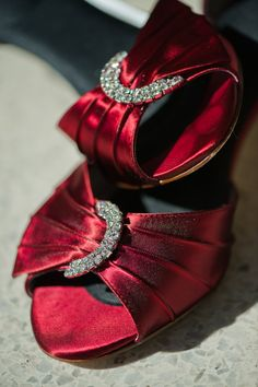 deep red bridal shoes
