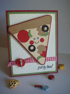Birthday Card Pizza Party Pizza card Handmade by CraftyClippingsbyPeg