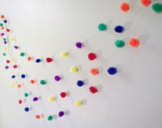 4 Seven Foot Strings Of mULTI cOLORED pOm pOm Giggity Giggity Garland--Multi Colored Birthday Decoration Garland ETSY