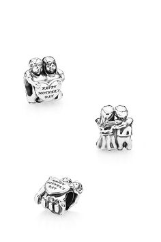 This highly detailed sterling silver charm, showcasing two sweet children expressing their feelings of care and appreciation, is a Mother's Day gift that any mother will treasure. #PANDORA #PANDORAcharm