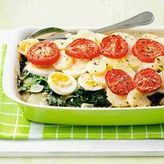 Recept - Spinazieschotel met ei - Allerhande Wel zelfgemaakte aardappelschijfjes en iets anders dan die saus