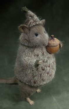 Grey Rat with Acorn - stuffed animal by Natasha Fadeeva (ooak toys)