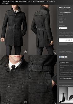 Burberry mens gray Alligator trench coat