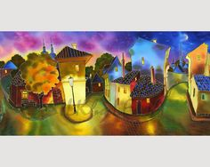 PAINTING on Silk GICLEE Print  STREETVIEW   Series by SilkByLena, $65.00