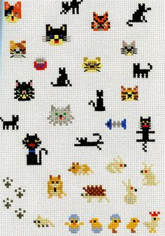 Cute Cross Stitch patterns: cats, mice, chicks, rabbits