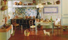Painter Claude Monet's kitchen, in miniature...