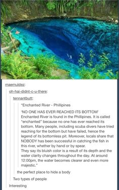 "The ""enchanted river"" in the phillipines places to travel, places to visit, All The Bright Places, Oh The Places You'll Go, Places To Travel, Places To Visit, Time Travel, Weird Facts, Fun Facts, Random Facts, Tumblr Funny"