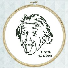 Albert Einstein - Original Easy-to-stitch Geeky Cross Stitch Chart (PDF Pattern) Instant Download