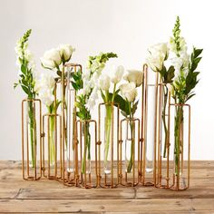 Lavoisier Set of 10 Hinged Flower Vases with Antiqued Gold Finish - Glass/Metal. Put these vases in a row for a dramatic effect on the table or along the wall. Change your flowers seasonally for a new look as often as desired. Deco Floral, Arte Floral, Vase Centerpieces, Vases Decor, Modern Centerpieces, Modern Vases, Blue Valentine, New Shape, Flower Vase Design