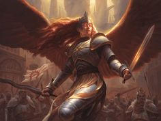 MtG Art: Aurelia, Exemplar of Justice from Guilds of Ravnica Set by Chris Rahn - Art of Magic: the Gathering Character Portraits, Character Art, Character Design, Character Ideas, Character Inspiration, Magic The Gathering, Dungeons And Dragons, Mtg Art, Angel Warrior