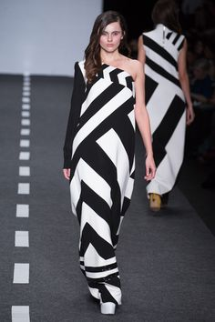 black and white all in stripes long dress