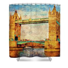 Shower Curtain featuring the photograph #Tower #Bridge #London by Judi Saunders.