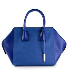 Stella McCartney small 'Boston' tote ($2,335) ❤ liked on Polyvore featuring bags, handbags, tote bags, blue, purses, blue leather purse, zip top tote, genuine leather handbags, blue leather handbag and genuine leather tote bag