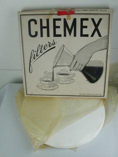 "1950s Chemex Filters 12"" Package Mid Century Advertising Drip coffee maker Vtg #Chemex"