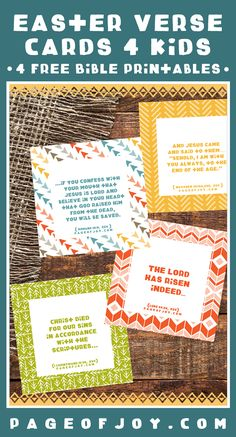Easter themed Bible verse cards for kids! These FREE printables are perfect for easter baskets, table settings, sunday school, easter crafts wth children and more. Help create a more meaningful Easter by remembering the reason for the season!