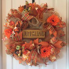 Autumnal Deco Mesh Wreath; Fall Wreath; Wreath with Gerbera Daisies; Floral Wreath; High Quality Wreath; Fall Deco Mesh Wreath by ChewsieCreations on Etsy
