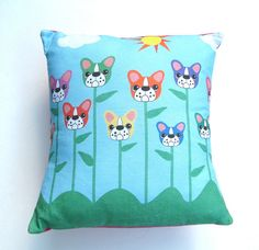 French Bulldog Flowers Pillow by StitchyWitchyDesigns on Etsy, $32.00