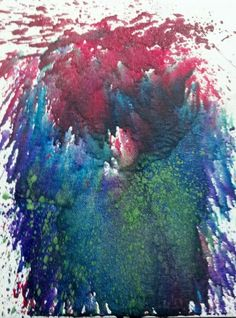 Splatter crayon art, did this myself with glitter crayons.