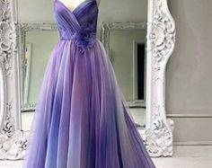 Dresses Long Style Clothes Dresses Two Piece Trends Casual Trends Grunge Fashion 2020 Clothes Classy DISCOUNT CODEA-line Spaghetti Straps Ombre Prom Dresses Long Formal Gowns Colorful Evening Dress With Ruffles Ombre Prom Dresses, Gold Bridesmaid Dresses, Designer Prom Dresses, Tulle Prom Dress, Homecoming Dresses, Purple Wedding Dresses, Gauze Dress, Gown Dress, Dress Lace
