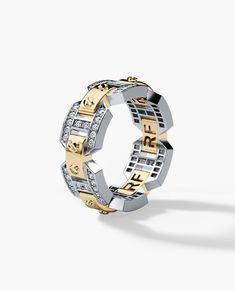 A truly unique design and fine workmanship are combined in one striking designer men's two-tone gold wedding band with white diamonds. men's wedding band available in gold Mens Diamond Wedding Bands, Unique Wedding Bands, Wedding Men, Diamond Bands, Wedding Ring Bands, Gold Wedding, Bridal Rings, Mens Silver Rings, White Gold Diamonds