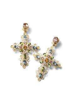 Dolce&Gabbana Jewellery Filigree and multi coloured gem cross earrings - 18K gold filigree cross shaped earrings with morganite, aquamarine, peridot, and citrine.