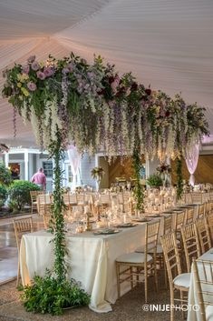 Wedding reception head table with floral arbor of hanging flowers designed by Edge Design Group Hanging Flowers Wedding, Bridal Flowers, Head Table Wedding, Wedding Reception Tables, Wisteria Wedding, Garden Wedding, Whimsical Wedding, Floral Wedding, Boho Chic