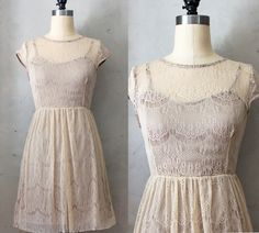 PIROUETTE BRONZE  Taupe tan lace overlay dress by FleetCollection    Dont love this one but like the overlay