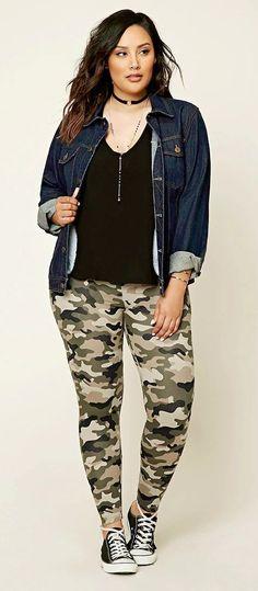 1c14c2010ea Plus Size Camo Print Leggings  plussize women outfits