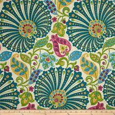 Fabric By The Yard Designer Fabric Teal Fabric Richloom Bankura Moroccan