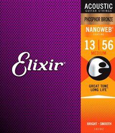 Elixir 16102 Phosphor Bronze Nanoweb Coated Acoustic Guitar Strings Medium