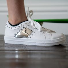 Step out in style in these super cool trainers. Silver studded kids white lace up trainers. We love these at OLIVE + OSCAR Cool Trainers, Lace Up Trainers, Stylish Dresses, Cool T Shirts, White Lace, Girl Outfits, Girls, Silver, How To Wear