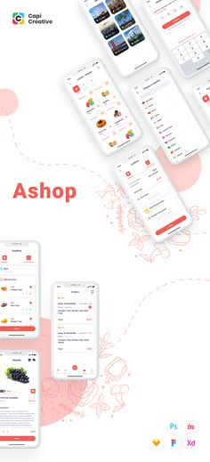 🍒 Ashop is app targets to busy customers who don't have much time to go shopping frequently. They can pay for other people go shopping for them with detail requirements. #uiux #ui #iudesign #uikit #pink #shopping #mobile #app #food #delivery #red Mobile App Design, Mobile Ui, Ui Ux Design, Design Agency, App Design Inspiration, Adobe Xd, Ui Kit, User Interface, Design Process