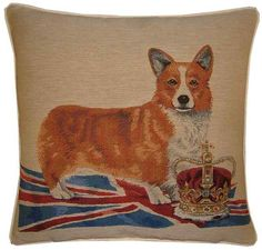 This smart corgi stands proud upon the Union Jack showing respect for the crown Just in case you didn't know.The Queen has owned more than 30 corgis during her reign many descended from her first corgi Susan. Welsh, Animal Cushions, Union Flags, British Things, Shabby, Equestrian Decor, British Invasion, Union Jack, Tapestry Weaving