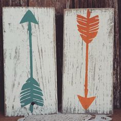 wooden arrow decor nursery decor home decor mint rustic orange white wash country chic